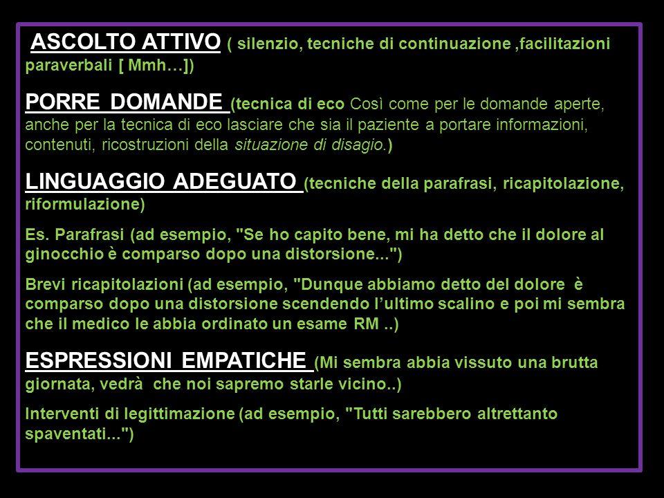 ASCOLTO ATTIVO ( silenzio, tecniche di continuazione ,facilitazioni paraverbali [ Mmh…])